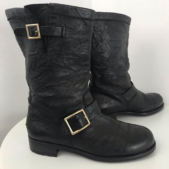 Jimmy Choo Shoes - JIMMY CHOO Boot Leather Moto Biker style Size 40